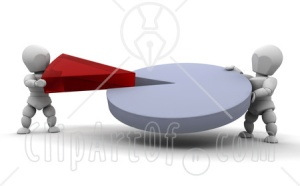 26915-Clipart-Illustration-Of-Two-White-Characters-Connecting-A-Red-Piece-Of-A-Pie-Chart-Into-The-Main-Piece